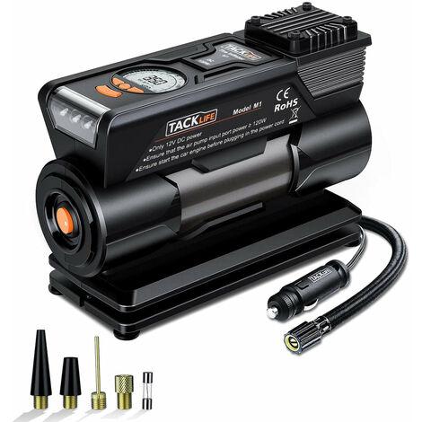 TACKLIFE Inflador de neumáticos M1, mini bomba de compresor de aire digital DC 12V
