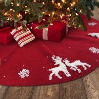 Jupe d'arbre en tricot 3D 48 pouces, gros collier d'arbre en tricot pour décorations de Noël rustiques, rouge bordeaux et blanc crème (122Fuchsia)