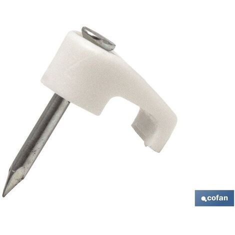 Grapa con clavo Cable Plano Medida mm:3,9 x 2,2 Modelo:Plano Color: Blanco Caja de 100 unidades