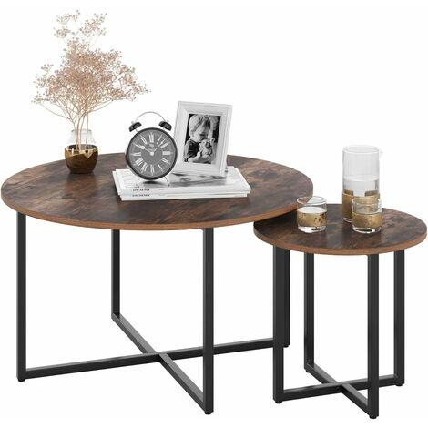 HOMFA Mesa de centro / mesa auxiliar, juego redondo vintage de 2, grande (80 x 80 x 45 cm), pequeña (42 x 42 x 40 cm)
