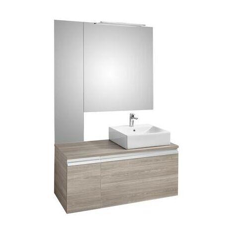 Mueble base Roca Heima para lavabo sobre encimera derecha con espejo y aplique 1100x500x500mm Fresno
