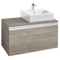Mueble base Roca Heima para lavabo sobre encimera derecha 900x500x500mm Fresno