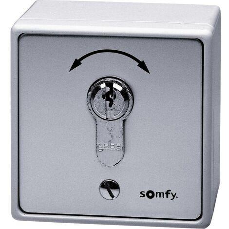 Interrupteur à clé pour motorisation de portail encastré, montage apparent (en saillie) Somfy 9000021