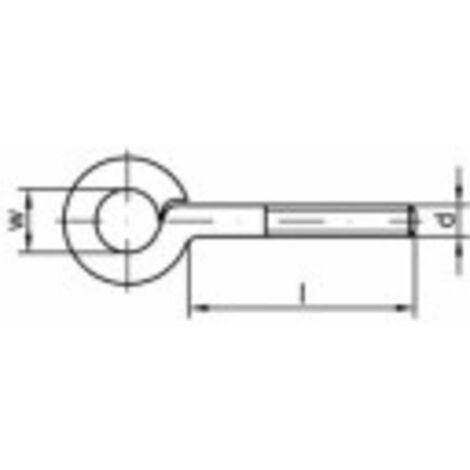 Œillet fileté type 48 TOOLCRAFT 159553 M4 x 10 mm Acier galvanisé 100 pc(s)