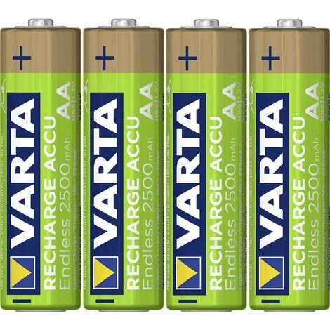 Pile rechargeable LR6 (AA) NiMH Varta Endless Ready to Use 5.6686101404E10 2500 mAh 1.2 V 4 pc(s)