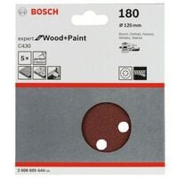 Feuille abrasive pour ponceuse excentrique avec bande auto-agrippante, perforé Bosch Accessories 2608605644 Grain num 1