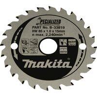 Makita SPECIALIZED B-33819 Lame de scie circulaire 85 x 15 x 1.0 mm Nombre de dents: 24 1 pc(s)
