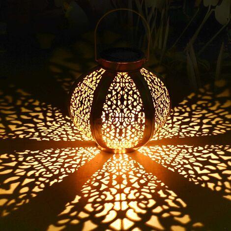 Lanterne solaire pour extérieur, lampe solaire pour décoration de jardin extérieur Lanterne de jardin solaire Lanterne de jardin suspendue de jardin LED Lanternes décoratives étanches IP44 avec sensibilité à la lumière