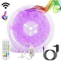 Kit tira LED musical RGB WiFi Alexa/Google Home con fuente, mando y controlador