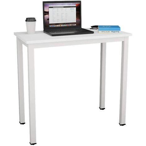 soges Bureau Compact pour Ordinateur, Table de Bureau Table de Travail PC Table en Bois et Acier, Table d'étude Table à Manger pour Petits Espaces, 80x40x75cm, Blanc AC3DW-8040