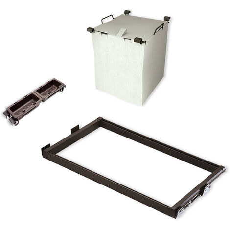 Emuca Kit Cesta per bucato con guide e vaschette ausiliari per armadio, regolabile, 564-614 mm, Color moka - Verniciato moka