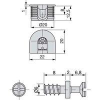 Emuca Supporto per ripiani, D. 20 mm, 12,5 mm + Perni D. 6,8 mm, Zama e Acciaio, Nichelato, 20 u. - Nichelato