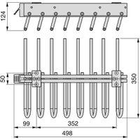 Emuca Porta pantaloni estraibile per armadio, montaggio a sinistra, Acciaio e Plastica, Grigio metallizzato - Verniciato alluminio