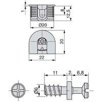 Emuca Supporto per ripiani, D. 20 mm, 12,5 mm, + Perni D.6,8 mm, Zama e Acciaio, Nichelato, 20 u. - Nichelato