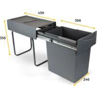 Emuca Pattumiera per raccolta differenziata da 20L per cucina, fissaggio inferiore, estrazione manuale, acciaio e plastica, grigio antracite. - Plastica grigio antracite