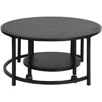 Lot de 2 tables basses scandinaves avec surface en bois massif et structure en métal noir, avec 4 roulettes, ronde.