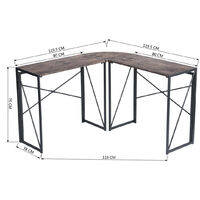 Bureau d'angle réversible pliant scandinave en bois marron 120*120cm