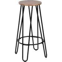 Tabourets de bar, tabourets hauts, lot de 2, assemblage facile, style industriel, structure en métal, couleur noire, hauteur 73 cm.