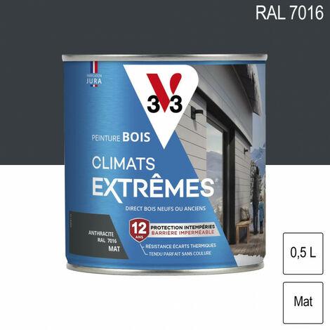 Peinture bois Climat Extrême Mat 0,5L (teinte au choix) V33 - Ton: Gris anthracite