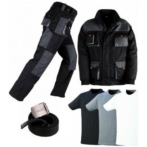 Pack Smart noir-gris: pantalon + veste + ceinture + 3 T-shirts KAPRIOL - Taille: Pantalon XL - Veste XL