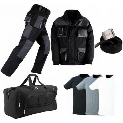 Pack Smart noir-gris: pantalon + veste + sac + ceinture + 3 T-shirts KAPRIOL - Taille: Pantalon S - Veste M
