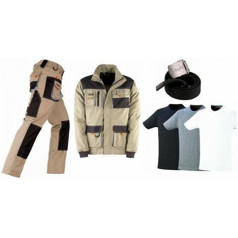 Pack Smart beige/noir: pantalon + veste + ceinture + 3 T-shirts KAPRIOL - Taille: Pantalon S - Veste M