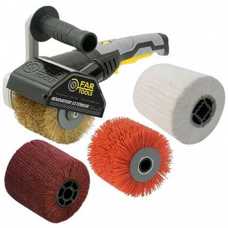 Rénovateur REX120C 1300W, avec 4 brosses (laiton, nylon abrasif, fibre synthétique, coton) FARTOOLS