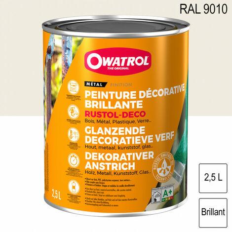 Peinture antirouille décorative 2,5L brillante multi supports Rustol Deco OWATROL - Teinte: Blanc RAL9010