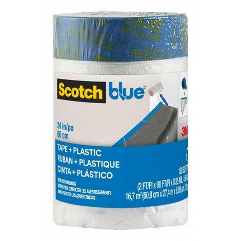 Recharge bâche Pré-adhésivée de taille M ScotchBlue 27m x 600mm transparent
