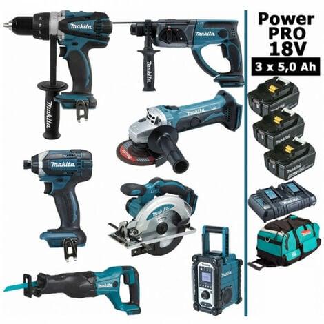 Pack Makita Power PRO 7 outils 18V: Perceuse DDF458 + Perforateur DHR202 + Visseuse à choc DTD152 + Meuleuse DGA504 + Scie circulaire DSS610 + Scie récipro DJR186 + Radio DMR108 + 3 batt 5Ah + sac MAKITA