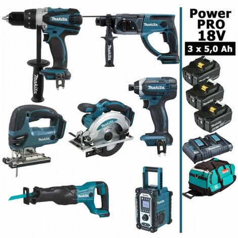 Pack Power PRO 7 outils 18V: Perceuse DDF458 + Perforateur DHR202 + Visseuse à choc DTD152 + Scie sauteuse DJV180 + Scie circulaire DSS610 + Scie récipro DJR186 + Radio DMR108 + 3 batt 5Ah + sac MAKITA