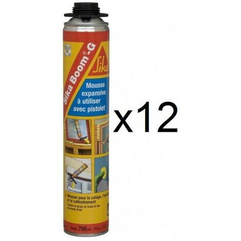 12x aérosols Sika Boom-G Mousse polyuréthane expansive polyuréthane isolante 750ml pistolable Sika