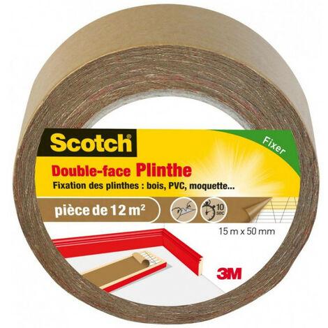Scotch double-face plinthes: bois, PVC, moquette 15mx50mm