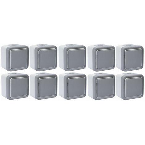 Interrupteur va-et-vient Plexo - gris LEGRAND - Nombre d'interrupteurs: 3