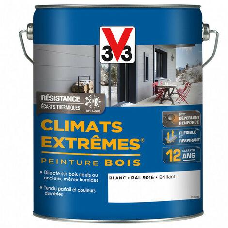 Peinture Bois Climats Extrêmes 5L (coloris et finition au choix) V33 - Couleur: Blanc RAL9016 brillant