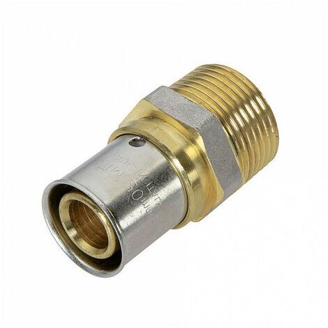 Raccord droit mâle à sertir pour tube Multicouche - Filetage: 12x17 - Ø tube: 16