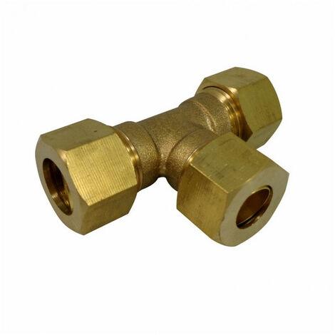 Té égal laiton - bicone - pour tube cuivre (16) - Ø tube : 16