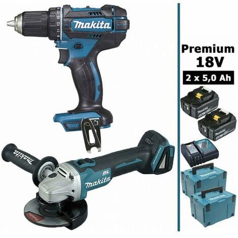 Pack Makita premium 18V 5Ah: Perceuse 62Nm DDF482 + Meuleuse 125mm DGA504 + 2 batteries + 2 MakPac MAK28730RTJ MAKITA