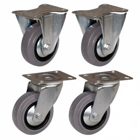 Jeu de 4 roulettes avec frein pivotantes à platine en caoutchouc jumelées 4-75
