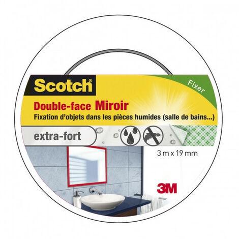 Adhésif double face pour miroir blanc 3m x 19mm Scotch