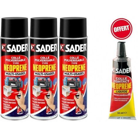 3 Colles pulvérisables néoprène multi-usages 200 ml SADER + OFFERT 1 Tube 55 ml néoprène