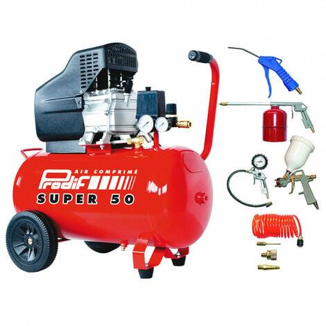 Compresseur coaxial 50L T856 PRODIF + Kit 8 accessoires et raccords pour peindre, gonfler, souffler, pulvériser, 5015 PRODIF