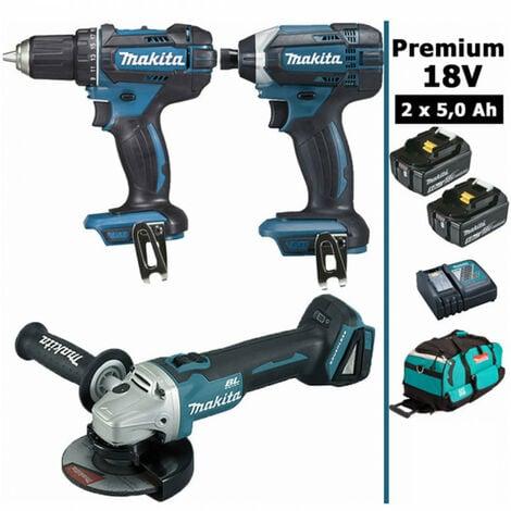 Pack Makita Premium 18V 5Ah: Perceuse 62Nm DDF482 + Meuleuse 125mm DGA504 + Visseuse à chocs 165Nm DTD152 + 2 batteries + sac MAK3221RTX MAKITA