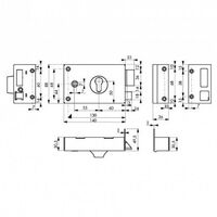 Serrure de grille et portail horizontale pour cylindre profil européen 140x88mm THIRARD - Version: Gauche