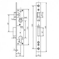 Boîtier serrure à cylindre axe 20 - L36mm - entraxe 85 - réversible THIRARD