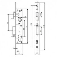 Boîtier serrure à cylindre axe 25 - L41mm - entraxe 85 - réversible THIRARD