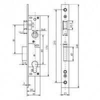 Boîtier serrure à cylindre axe 30 - L46mm - entraxe 85 - réversible THIRARD