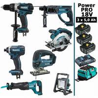 Pack Power PRO 7 outils 18V: Perceuse DDF458 + Perforateur DHR202 + Visseuse à choc DTD152 + Scie sauteuse DJV180 + Scie circulaire DSS610 + Scie récipro DJR186 + Projecteur DEADML805 + 3 batt 5Ah + sac MAKITA