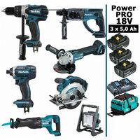 Pack Makita Power PRO 7 outils 18V: Perceuse DDF458 + Perforateur DHR202 + Visseuse à choc DTD152 + Meuleuse DGA504 + Scie circulaire DSS610 + Scie récipro DJR186 + Projecteur DEADML805 + 3 batt 5Ah + sac MAKITA