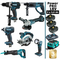 Pack Makita Power PRO 7 outils 18V: Perceuse DDF458 + Perforateur DHR202 + Visseuse à choc DTD152 + Meuleuse DGA504 + Scie circulaire DSS610 + Scie récipro DJR186 + Lampe DEADML802 + 3 batt 5Ah + sac MAKITA